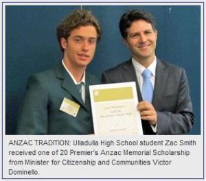Premier Anzac Memorial Scholarship recipient Zac Smith